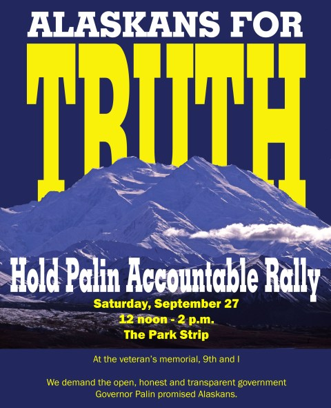 Flyer for rally in Anchorage, Sat. Sept. 27th.